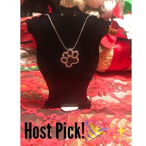 Jewelry - HOST PICK! Black&white crystal pawprint necklace